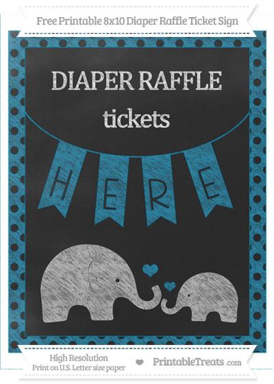 Free Cerulean Blue Polka Dot Chalk Style Elephant 8x10 Diaper Raffle Ticket Sign