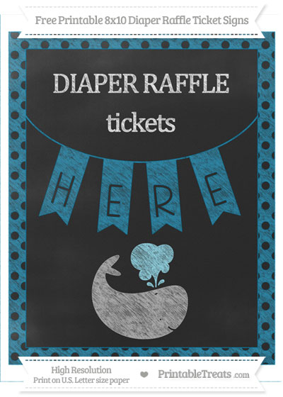 Free Cerulean Blue Polka Dot Chalk Style Whale 8x10 Diaper Raffle Ticket Sign