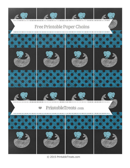 Free Cerulean Blue Polka Dot Chalk Style Whale Paper Chains