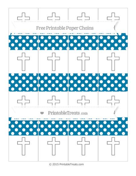Free Cerulean Blue Polka Dot Cross Paper Chains
