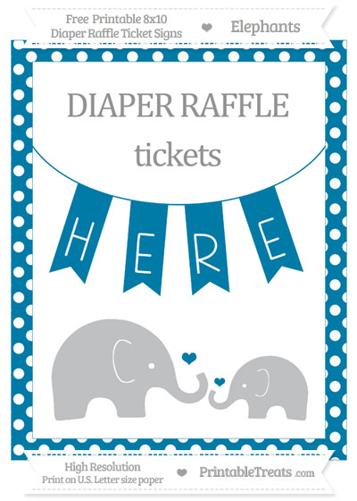 Free Cerulean Blue Polka Dot Elephant 8x10 Diaper Raffle Ticket Sign