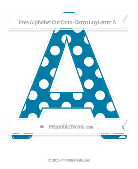 Free Cerulean Blue Polka Dot Extra Large Capital Letter A Cut Outs