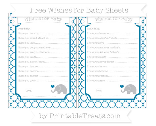 Free Cerulean Blue Quatrefoil Pattern Baby Elephant Wishes for Baby Sheets