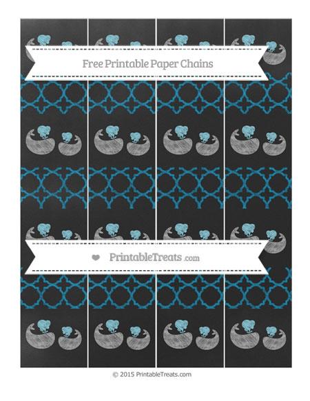 Free Cerulean Blue Quatrefoil Pattern Chalk Style Baby Whale Paper Chains