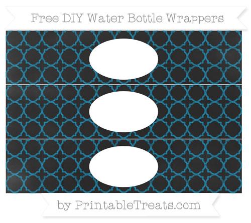 Free Cerulean Blue Quatrefoil Pattern Chalk Style DIY Water Bottle Wrappers