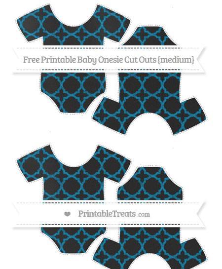 Free Cerulean Blue Quatrefoil Pattern Chalk Style Medium Baby Onesie Cut Outs