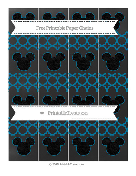 Free Cerulean Blue Quatrefoil Pattern Chalk Style Mickey Mouse Paper Chains