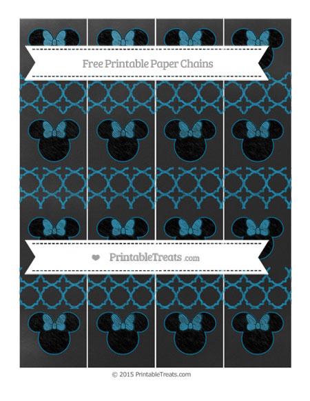 Free Cerulean Blue Quatrefoil Pattern Chalk Style Minnie Mouse Paper Chains