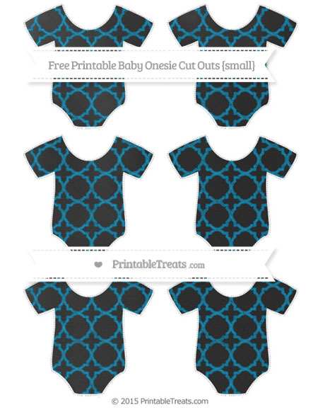 Free Cerulean Blue Quatrefoil Pattern Chalk Style Small Baby Onesie Cut Outs
