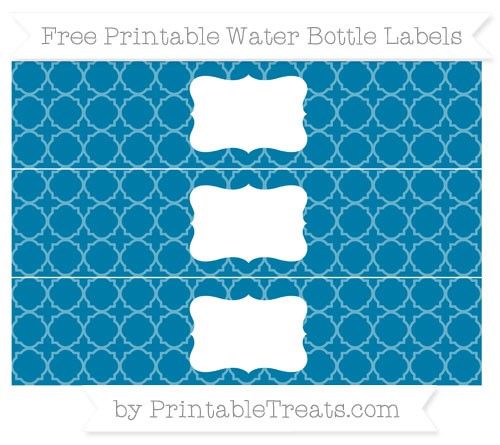 Free Cerulean Blue Quatrefoil Pattern Water Bottle Labels
