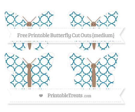 Free Cerulean Blue Quatrefoil Pattern Medium Butterfly Cut Outs