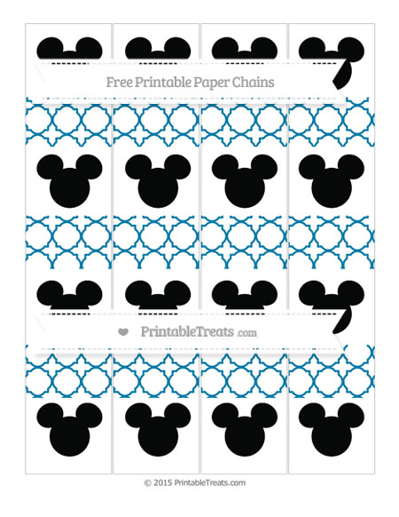 Free Cerulean Blue Quatrefoil Pattern Mickey Mouse Paper Chains