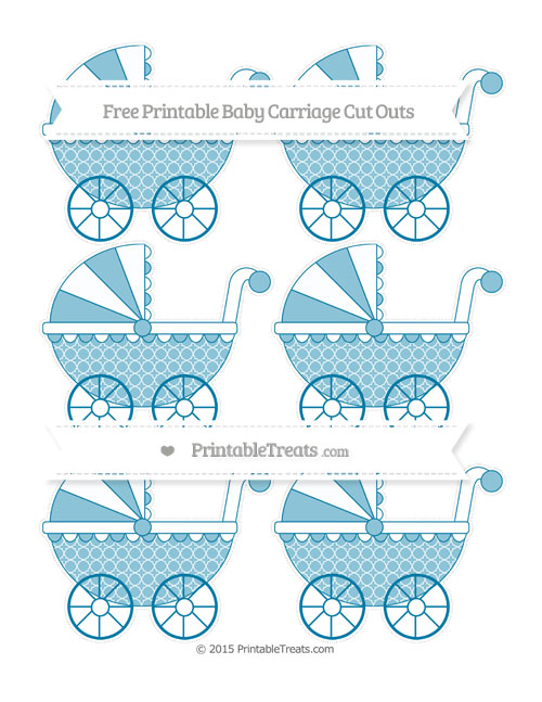 Free Cerulean Blue Quatrefoil Pattern Small Baby Carriage Cut Outs