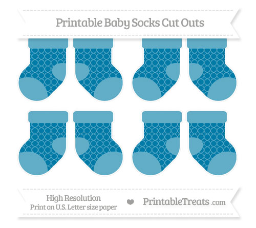 Free Cerulean Blue Quatrefoil Pattern Small Baby Socks Cut Outs