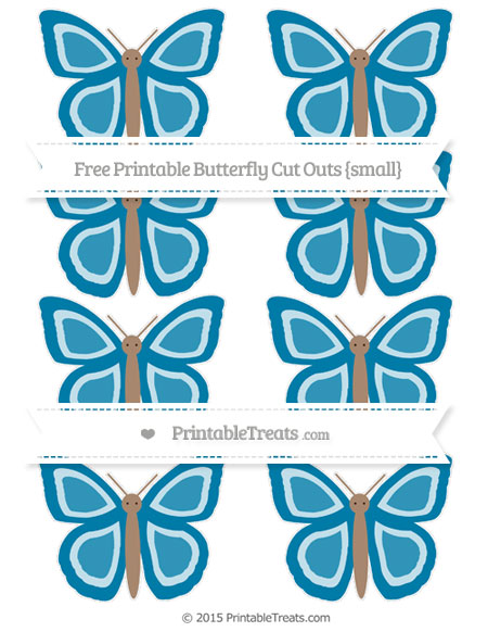 Free Cerulean Blue Small Butterfly Cut Outs