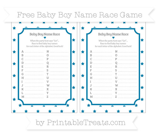 Free Cerulean Blue Star Pattern Baby Boy Name Race Game