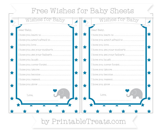 Free Cerulean Blue Star Pattern Baby Elephant Wishes for Baby Sheets
