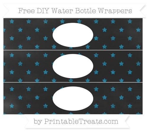 Free Cerulean Blue Star Pattern Chalk Style DIY Water Bottle Wrappers
