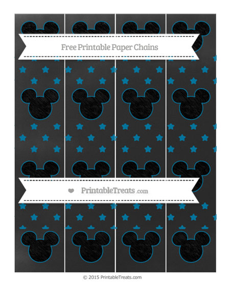 Free Cerulean Blue Star Pattern Chalk Style Mickey Mouse Paper Chains