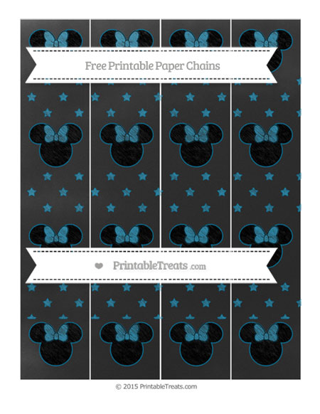 Free Cerulean Blue Star Pattern Chalk Style Minnie Mouse Paper Chains