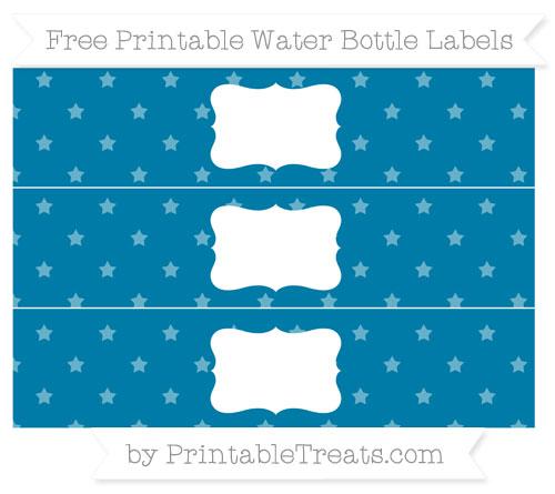 Free Cerulean Blue Star Pattern Water Bottle Labels