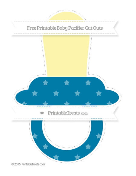 Free Cerulean Blue Star Pattern Extra Large Baby Pacifier Cut Outs