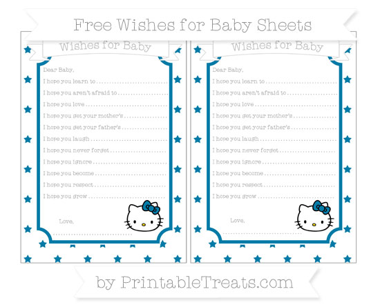 Free Cerulean Blue Star Pattern Hello Kitty Wishes for Baby Sheets