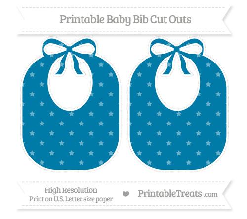 Free Cerulean Blue Star Pattern Large Baby Bib Cut Outs