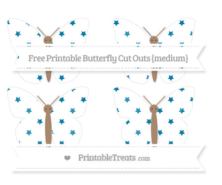 Free Cerulean Blue Star Pattern Medium Butterfly Cut Outs