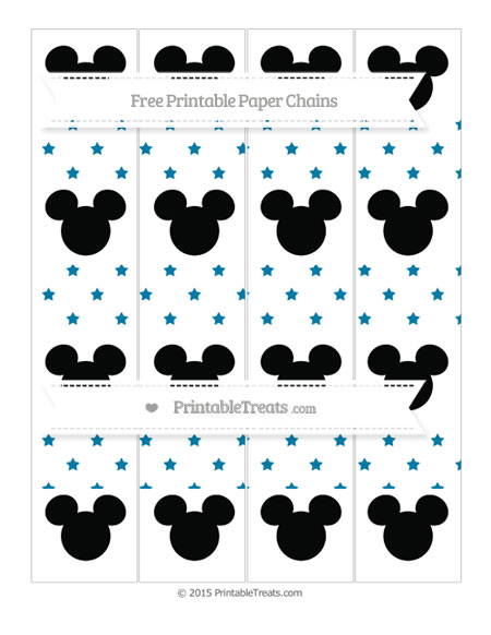 Free Cerulean Blue Star Pattern Mickey Mouse Paper Chains