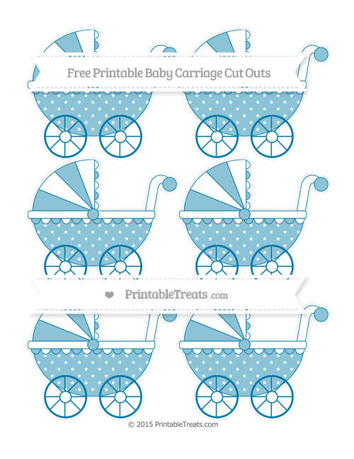 Free Cerulean Blue Star Pattern Small Baby Carriage Cut Outs