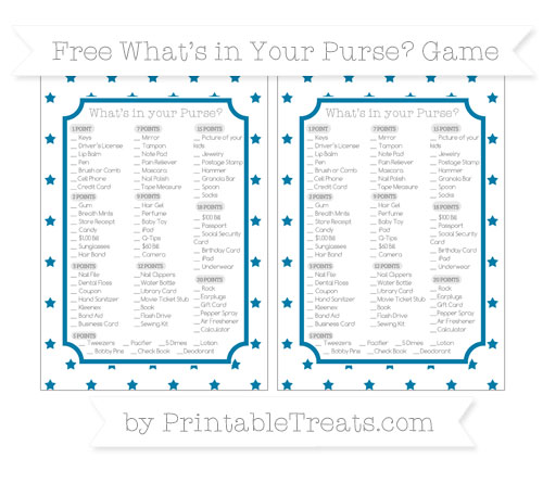 Free Cerulean Blue Star Pattern What's in Your Purse Baby Shower Game