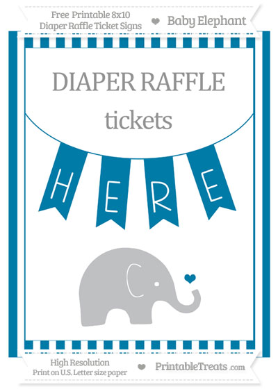 Free Cerulean Blue Striped Baby Elephant 8x10 Diaper Raffle Ticket Sign