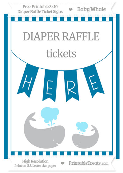 Free Cerulean Blue Striped Baby Whale 8x10 Diaper Raffle Ticket Sign
