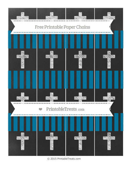 Free Cerulean Blue Striped Chalk Style Cross Paper Chains
