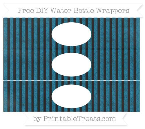 Free Cerulean Blue Striped Chalk Style DIY Water Bottle Wrappers
