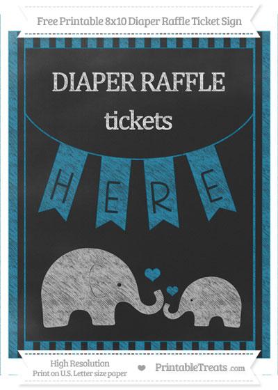 Free Cerulean Blue Striped Chalk Style Elephant 8x10 Diaper Raffle Ticket Sign