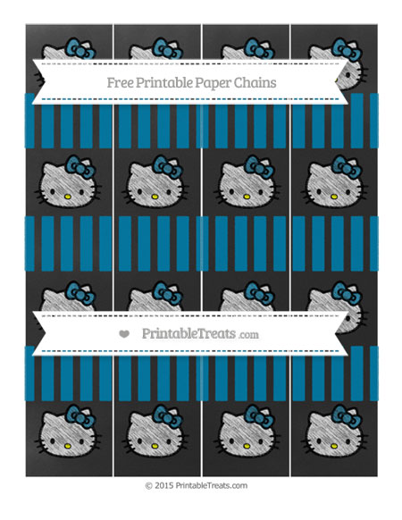 Free Cerulean Blue Striped Chalk Style Hello Kitty Paper Chains
