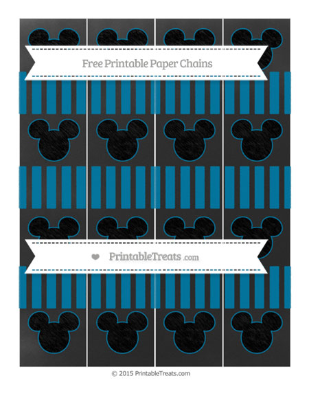Free Cerulean Blue Striped Chalk Style Mickey Mouse Paper Chains