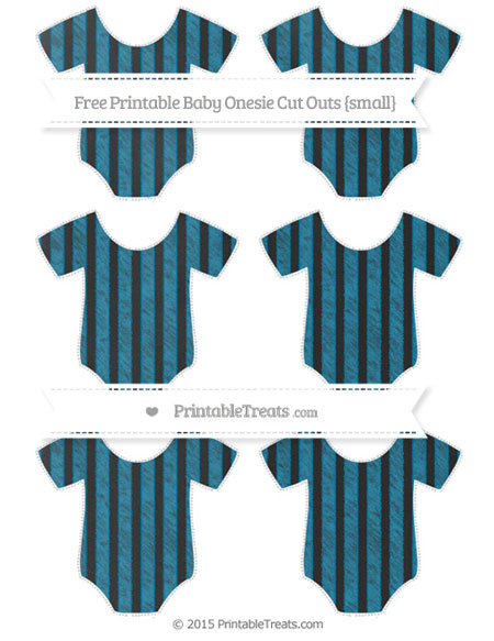Free Cerulean Blue Striped Chalk Style Small Baby Onesie Cut Outs
