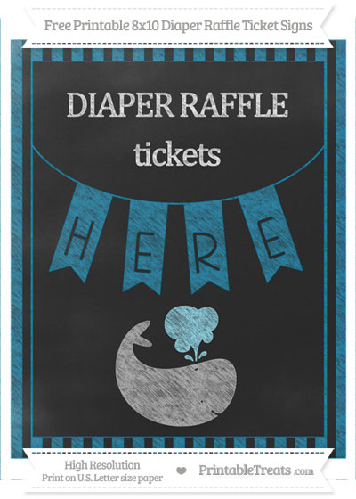 Free Cerulean Blue Striped Chalk Style Whale 8x10 Diaper Raffle Ticket Sign