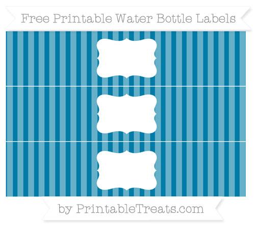 Free Cerulean Blue Striped Water Bottle Labels