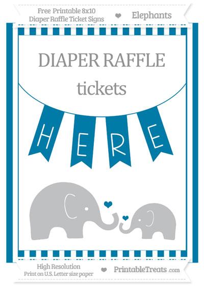 Free Cerulean Blue Striped Elephant 8x10 Diaper Raffle Ticket Sign