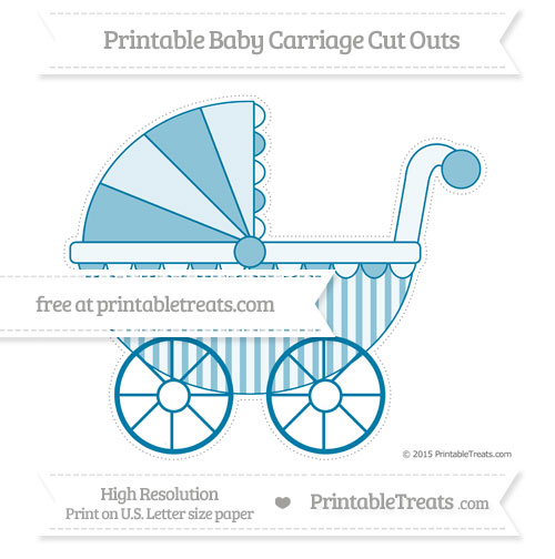 Free Cerulean Blue Striped Extra Large Baby Carriage Cut Outs