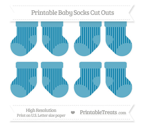 Free Cerulean Blue Striped Small Baby Socks Cut Outs