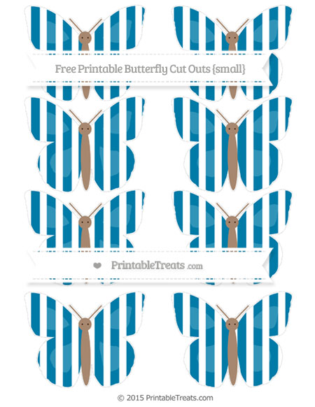 Free Cerulean Blue Striped Small Butterfly Cut Outs