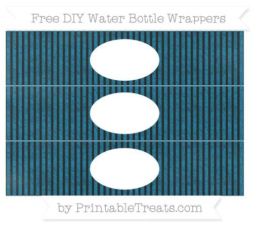 Free Cerulean Blue Thin Striped Pattern Chalk Style DIY Water Bottle Wrappers