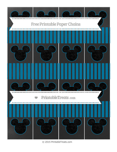 Free Cerulean Blue Thin Striped Pattern Chalk Style Mickey Mouse Paper Chains