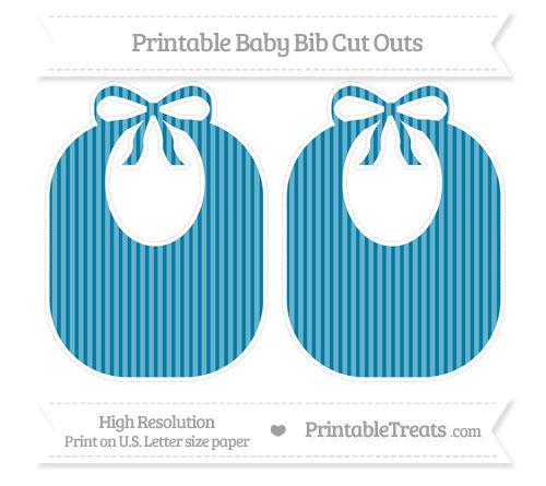 Free Cerulean Blue Thin Striped Pattern Large Baby Bib Cut Outs