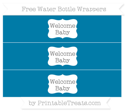 Free Cerulean Blue Welcome Baby Water Bottle Wrappers